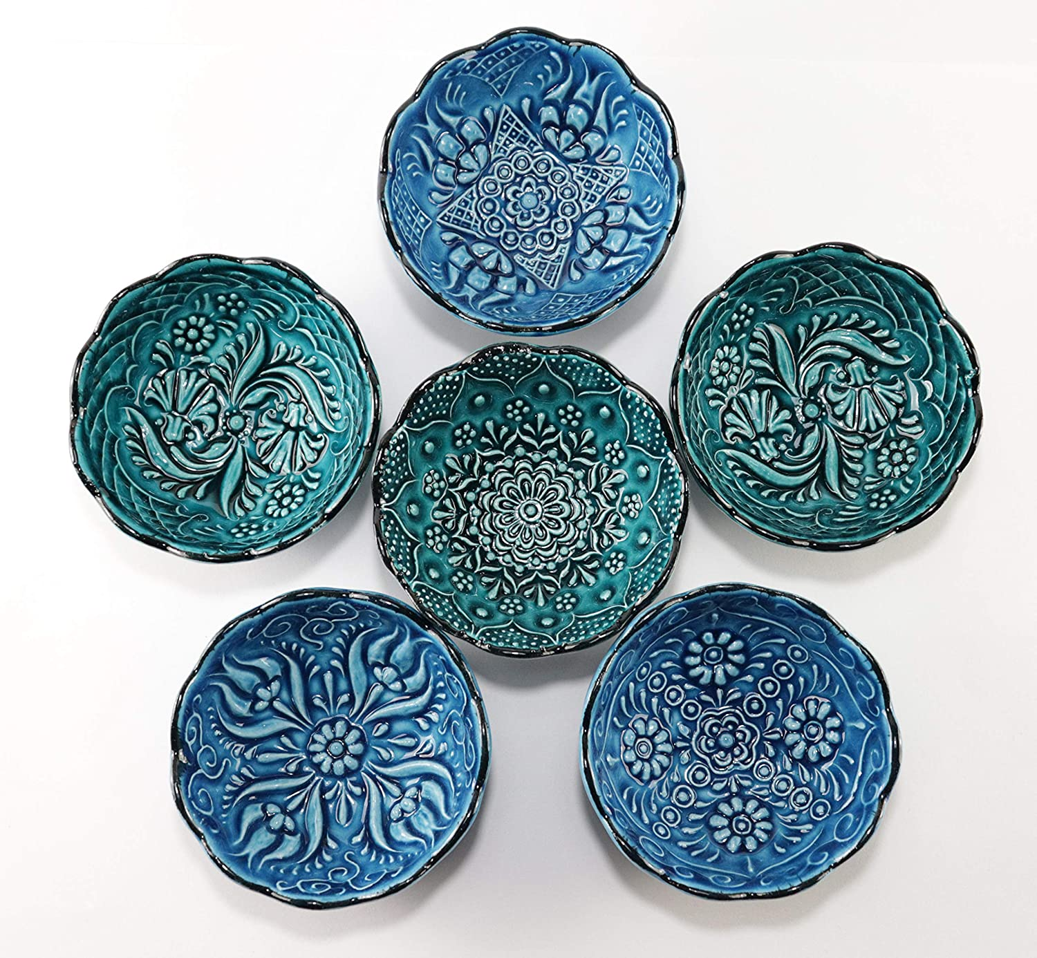 Canarels Decorative Bowl Set – Handcrafted Ceramic Prep Small Sauce Dipping Serving Pinch Bowls – Charcuterie Bowls - Turquoise Home, Kitchen, Coffee Table Decor (3.14 inch, 6 Pcs - Turquoise)