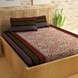 Story@Home Candy 120 TC Cotton Bed Sheet for Double Bed with 2 Pillow Cover Set - Paisley, Queen Size, Brown and Orange