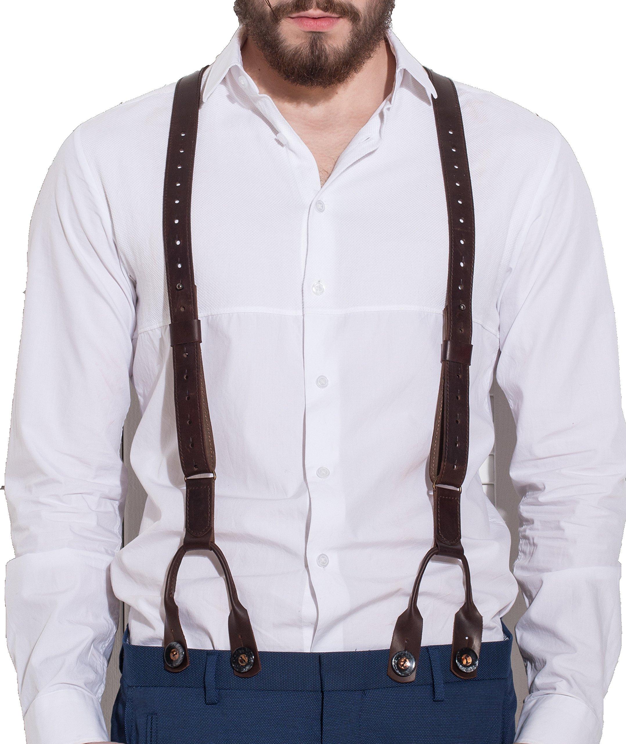 Men's Leather Suspenders Handmade Y-Back Vintage Braces Adjustable Brown Wedding Suspenders (from 5'9'' to 6'7'', Brown)2 types of fastening