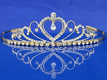 2c47dadbbc2a5b Image Unavailable. Image not available for. Color: SC Bridal Wedding Prom Gold  Tiara Crown With Crystal Heart 4220G6