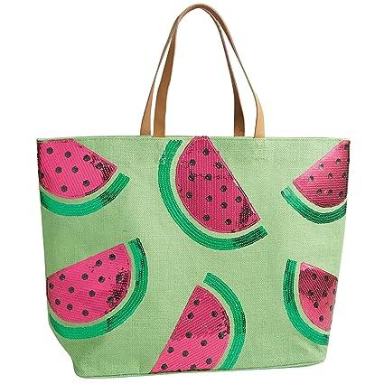 109bf29c74 Amazon.com: Mud Pie Sequin Tropical Dazzle Jute Tote Beach Bag Watermelon:  Arts, Crafts & Sewing