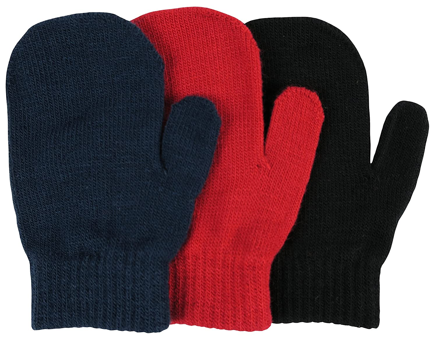 N'Ice Caps Little Boys and Infants Magic Stretch Mittens 3 Pairs Assortment N'Ice Caps 211-C-I