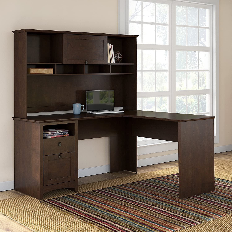 Buena Vista L Shaped Desk with 6 Cube Bookcase Bush Industries--DROPSHIP BUV036MSC