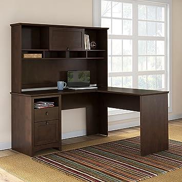 u shaped desk with hutch in middle magellan l bundle vista cherry office depot