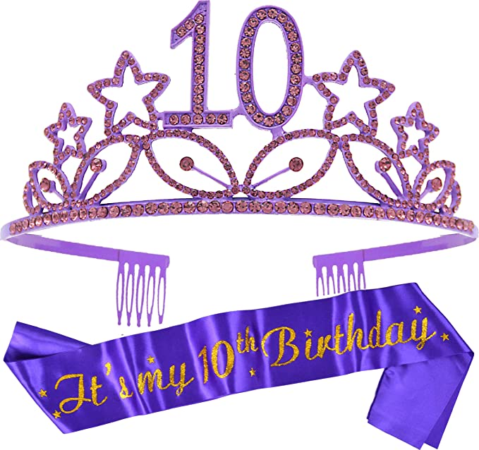 10th Birthday Gold Tiara and Sash Happy 10th Birthday Party Supplies Birthday Girl Glitter Satin Sash and Crystal Tiara Princess Birthday Crown for Girls 10th Birthday Party Decorations Favors