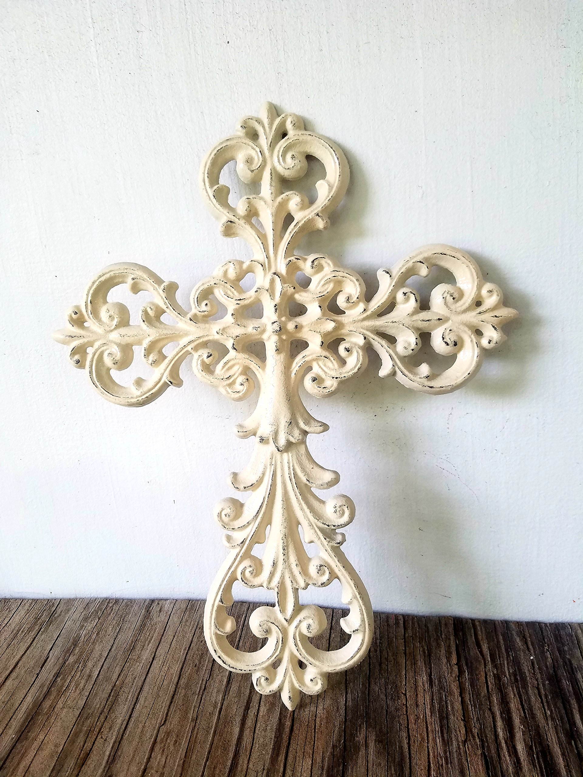 Large Rustic Ivory Decorative Floral Cast Iron Wall Cross Hanging – Shabby Chic Inspirational Housewarming Gift