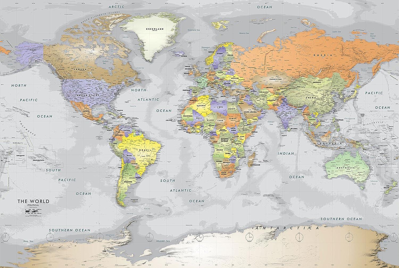 Amazon Com Academia Maps Gray Ocean Political World Wall Map