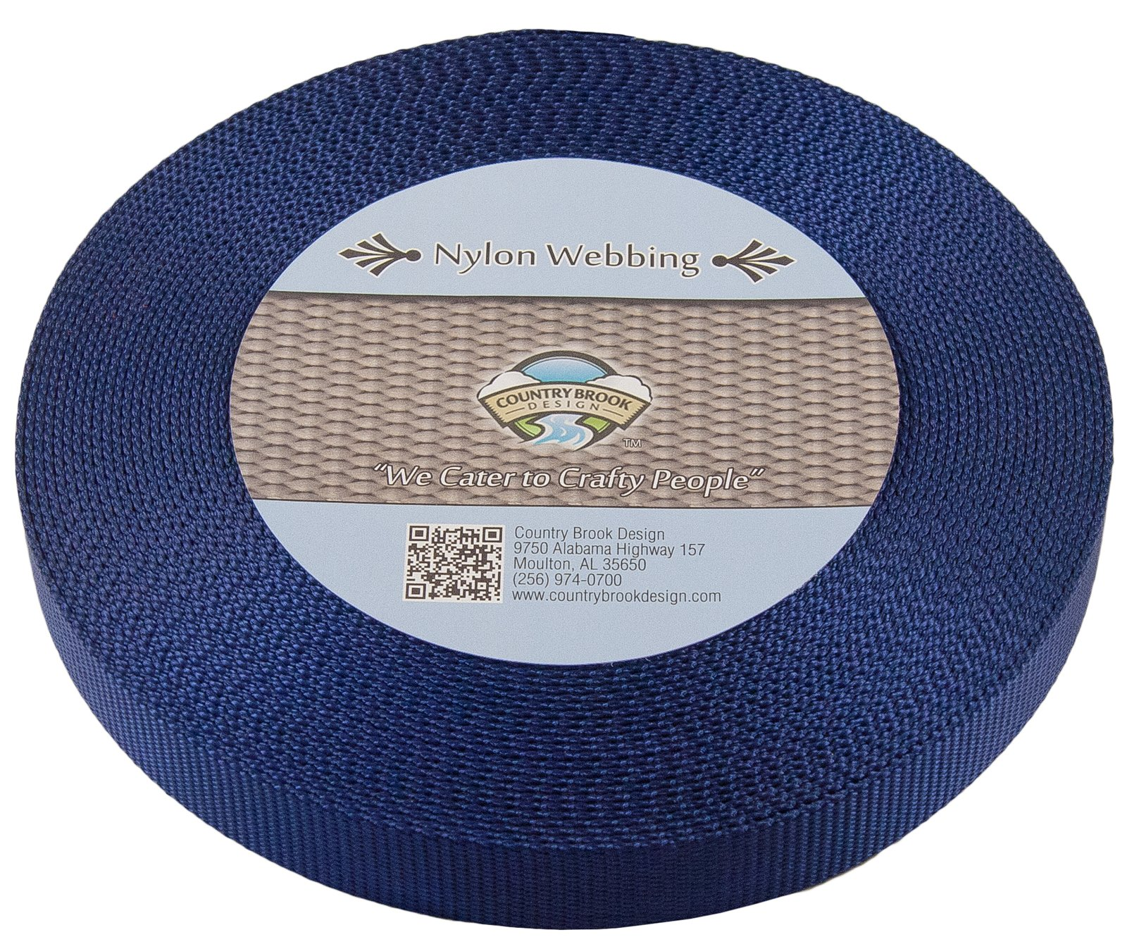 Country Brook Design | Navy Blue Heavy Nylon Webbing (1 inch, 10 yards)