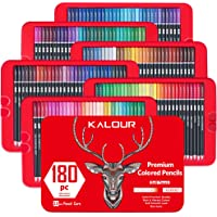 KALOUR 180 Colored Pencil Set for Adults Artists - 3.8mm Rich Pigment Soft Core - Wax-Based - Ideal for Coloring Books…