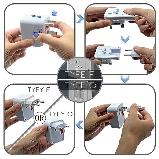 WONPLUG Adaptador Enchufe Universal Adaptador de Viaje para EE.UU. Canadá Tailandia Japón Australia China Nueva Zelanda Hong Kong Reino Unido Inglaterra ...