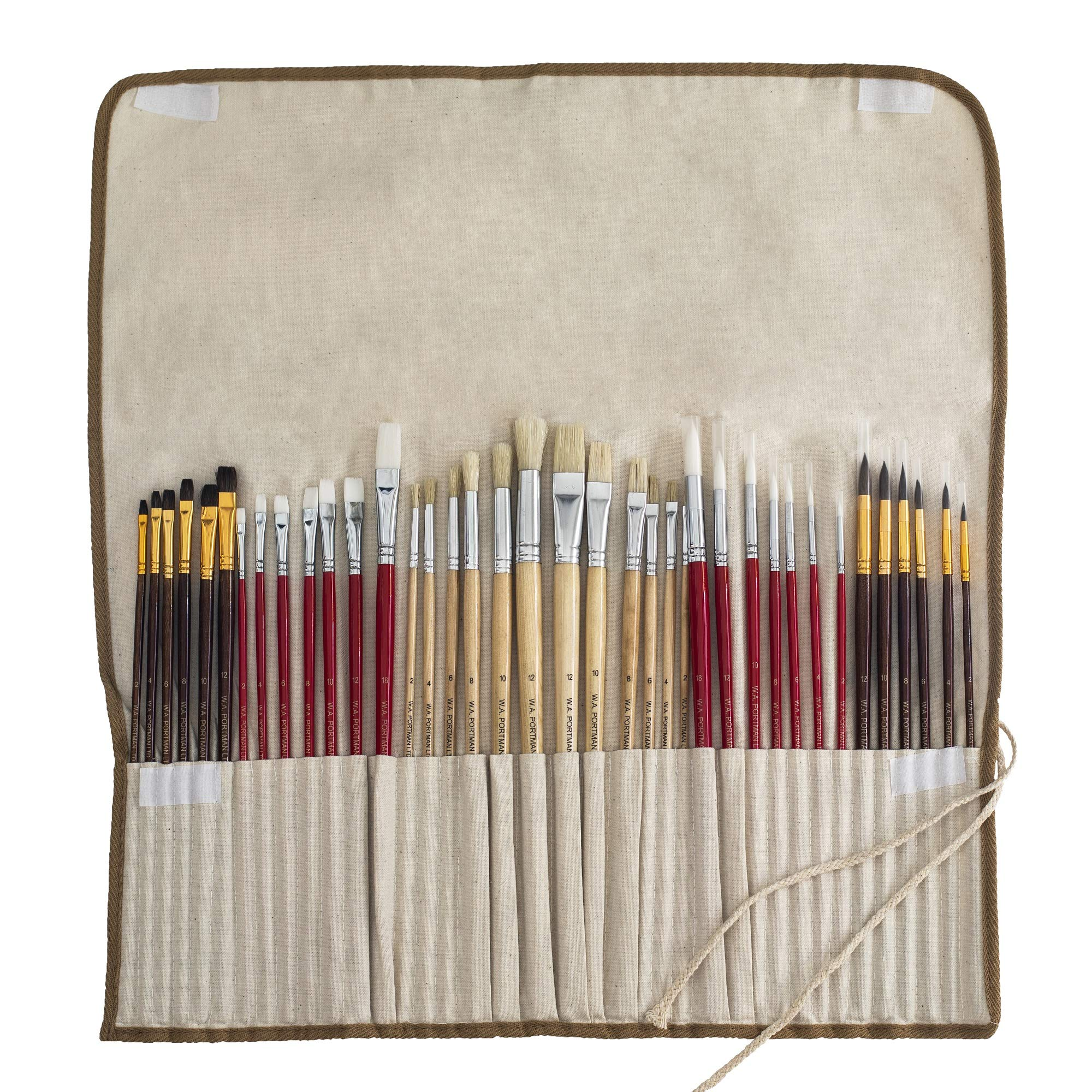 WA Portman Artist Paint Brush Set for Acrylic Watercolor Oil Gouache Model Face and Body Painting | 38-pc Quality Synthetic Hair Painting Brushes Set | Handy Canvas Holder Great for Kids and Adults by W.A. Portman