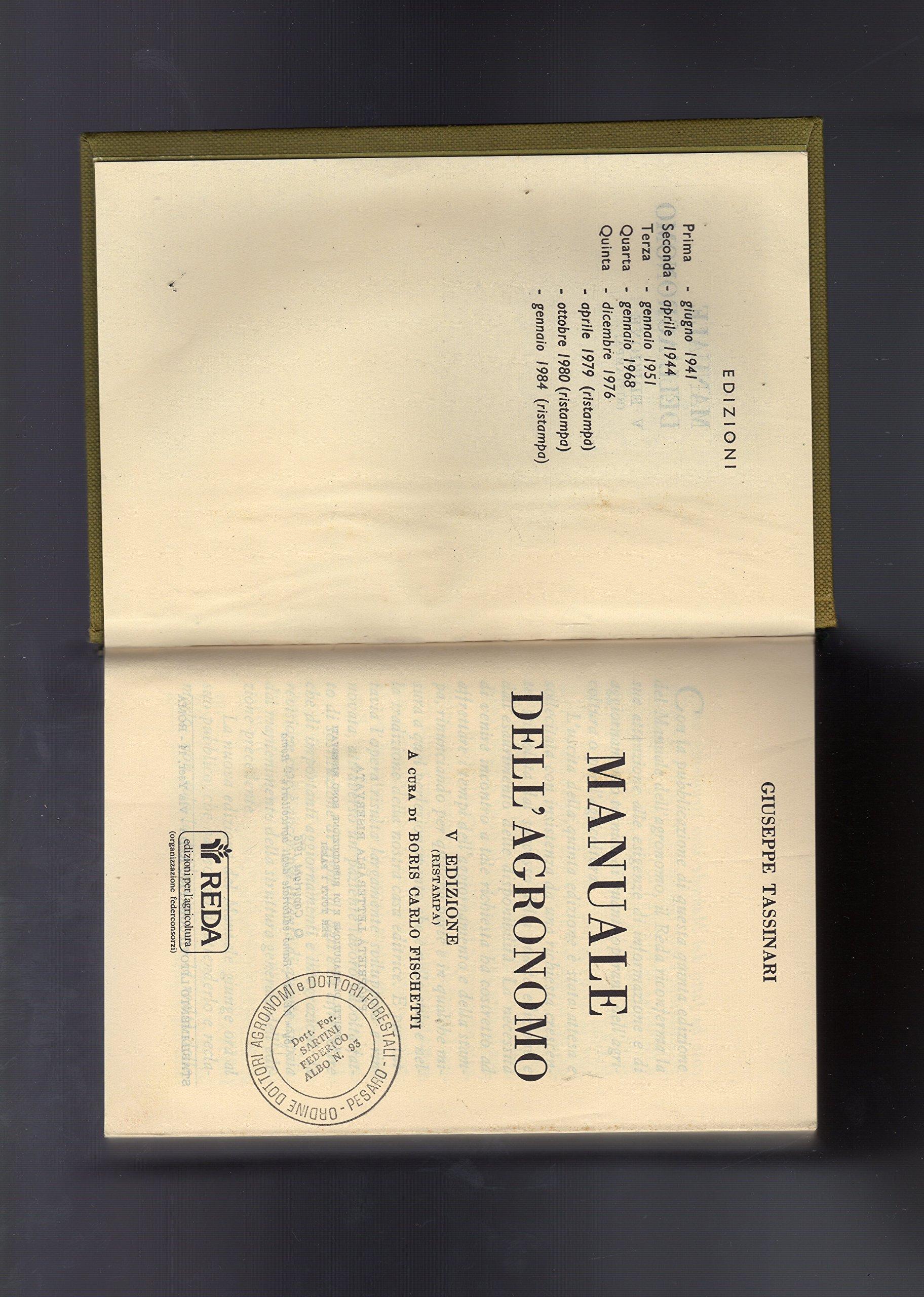 amazon it manuale dell agronomo quinta edizione 1976 tassinari rh amazon it manuale dell'agronomo tassinari pdf manuale dell'agronomo pdf