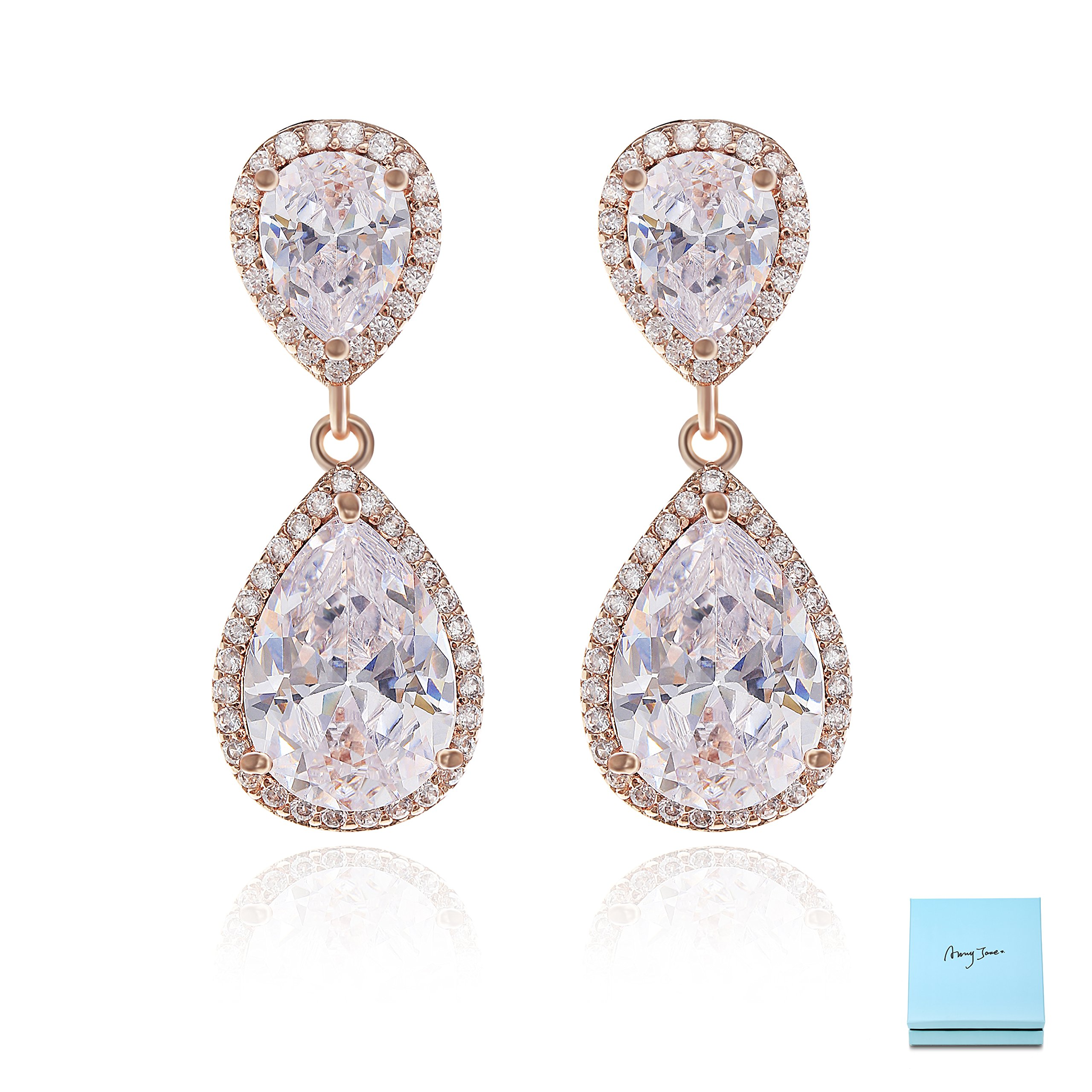 Teardrop Dangle Earrings for Wedding - 14K Rose Gold Plated Sterling Silver Pear Shape Cubic Zirconia Crystal Drop Earrings for Women Bridal Jewelry for Bridesmaids Mother of Bride Party Prom Pageant