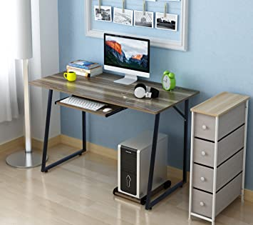 Soges Computer Desk 47u0026quot; PC Desk Office Desk With Pullout Keyboard Tray  Workstation For Home