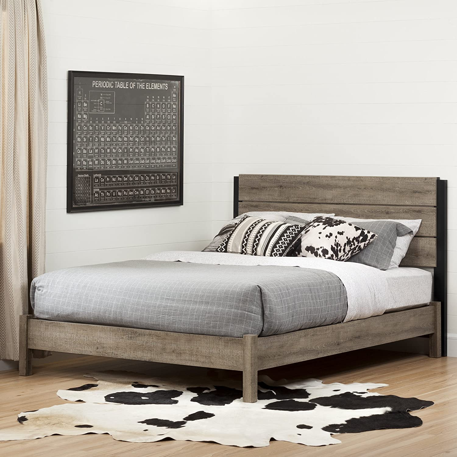 Amazon South Shore Munich Platform Bed 60 on Legs Weathered