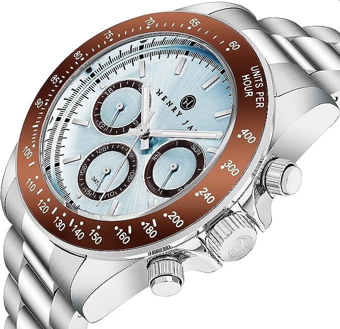 Henry Jay - Reloj para hombre multifunción, de acero inoxidable