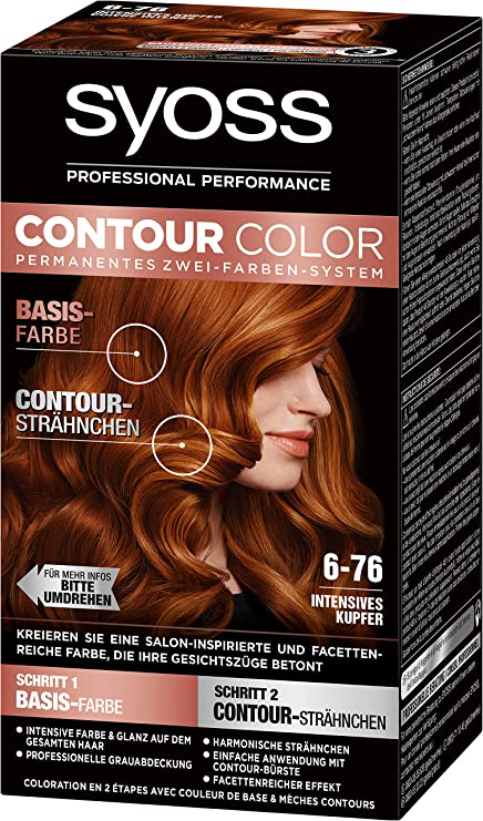 SYOSS Contour Color Nivel 3 6-76 cobre intenso, sistema permanente de dos colores, 1 unidad (183 ml).