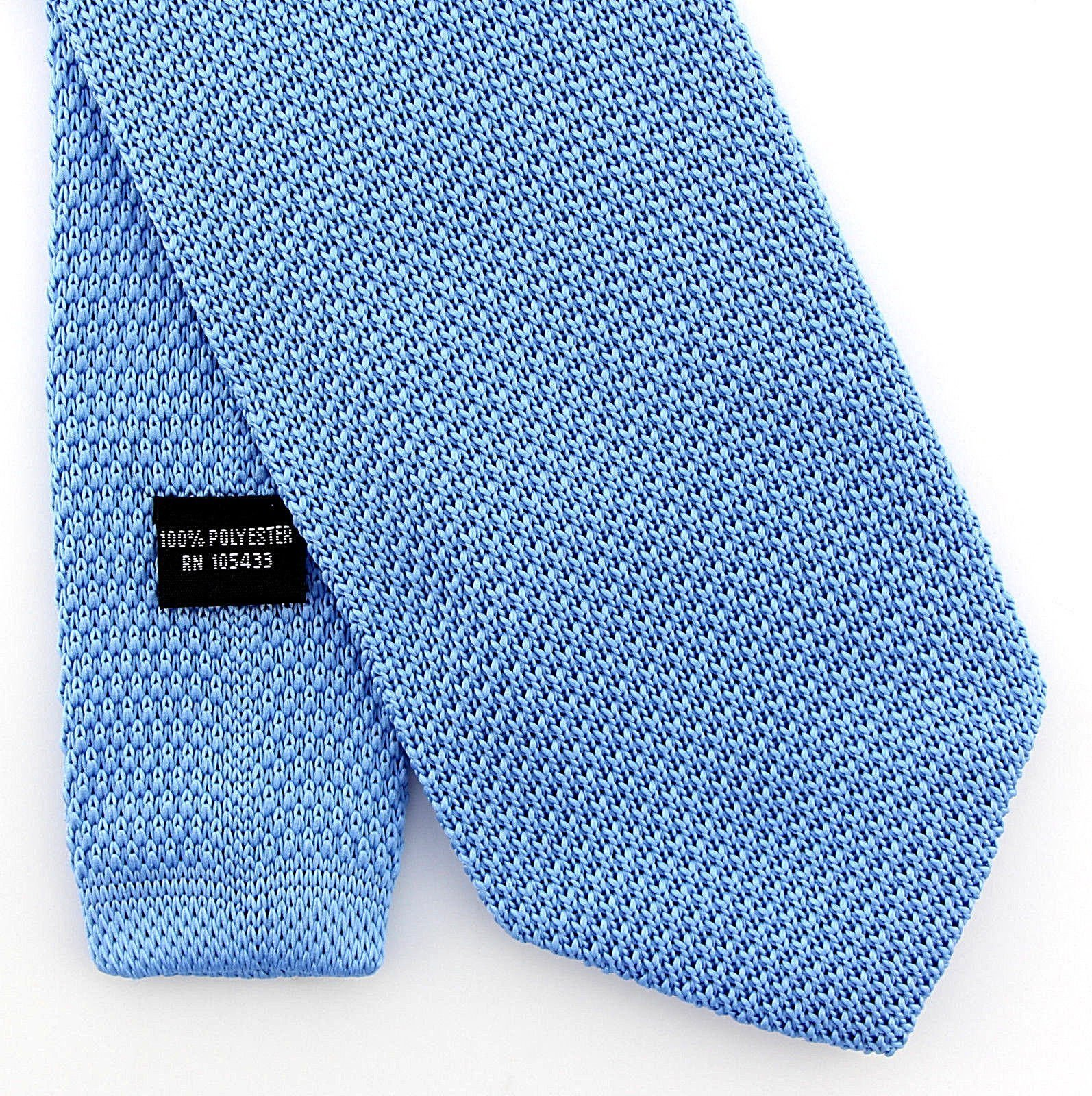 Men's Hipster Classic Solid 3'' Knit Knitted Tie Necktie Neckwear (light Blue)