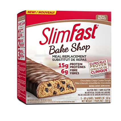 1 Box of Slimfast Bake Shop Meal Replacement Bars, with 15g of Protein & 5g  Fiber, 5 - 60g Bars per Box = 5 Bars Total