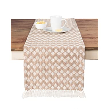 Sticky Toffee Cotton Woven Table Runner with Fringe, Scalloped Diamond, Tan, 14 in x 72 in