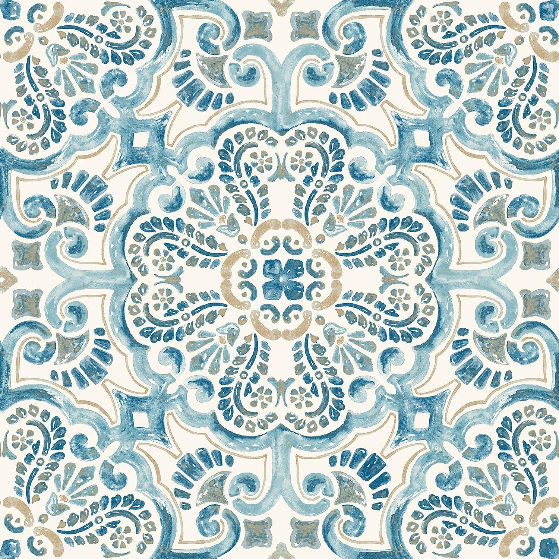 FloorPops FP2477 Fontaine Peel & Stick Tiles Floor Decal, Blue