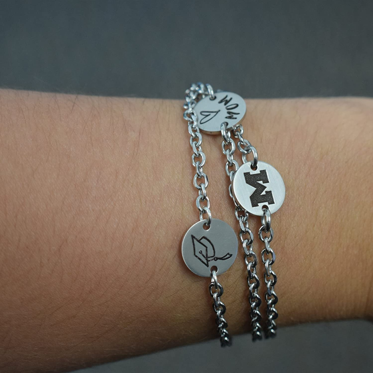 South Florida Bulls Stainless Steel Link Bracelet with Round Charm 8in, School