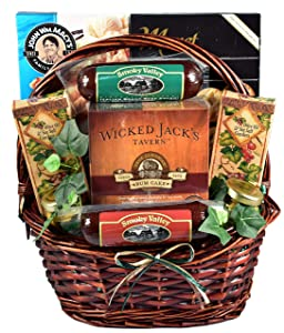Gift Basket Village It's A Guy Thing, Gift Basket For Guys with Cheese, Sausage, Crackers and Sweets, 8 Piece Set, Original, 1 Count