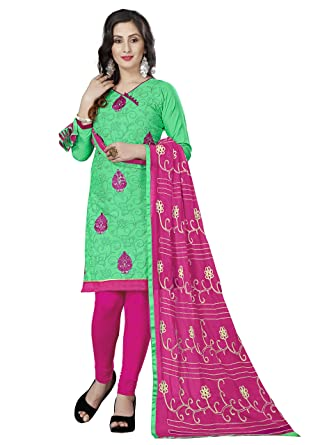 fbbc8535d4 Image Unavailable. Image not available for. Color: Rajnandini Mint Green  Cotton Embroidered Salwar Suit Dress Material