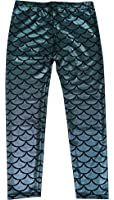 Simplicity Girl's Glittery Mermaid Fish Scale Print Leggings Pants 4-6 Years