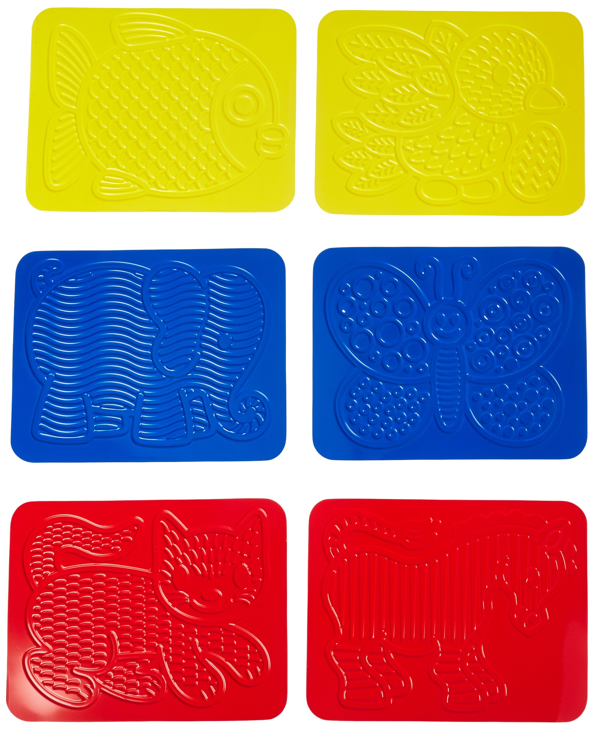 Roylco Junior Animal Rubbing Plates with Guide, 8.5'' x 11'', Set of 6