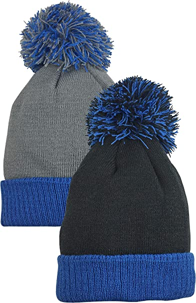 NIce Caps Little Boys Fleece Lined Knitted 3PC Set with Poms