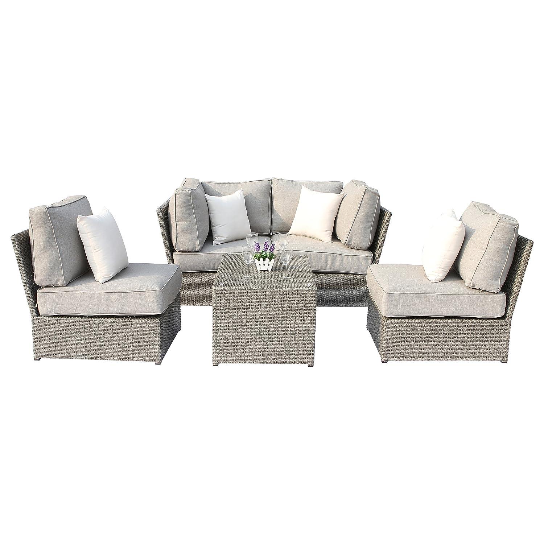 Chelsea Grey Wicker 5-Piece Patio Sofa Sectional Furniture Set Conversation  Sofa Set by (5-Piece (Conversation Sofa Set))