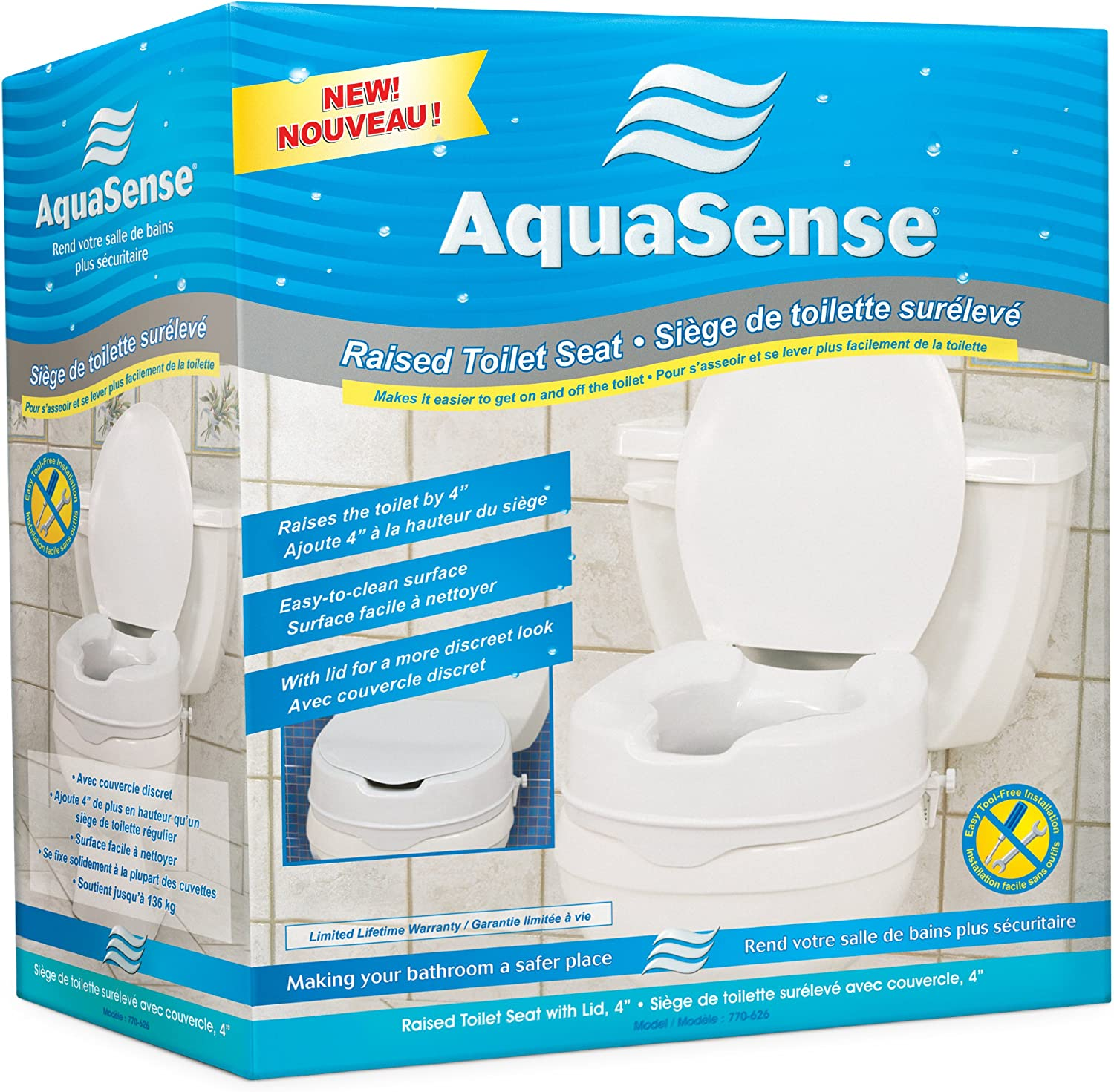 AquaSense Raised Toilet Seat with Lid, White, 4-Inches: Health & Personal Care