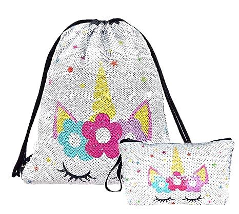 95b4dbdebfa7 Unicorn Sequin Drawstring Backpack Bling Beach Hiking Bags (White Star with  Makeup Bag)