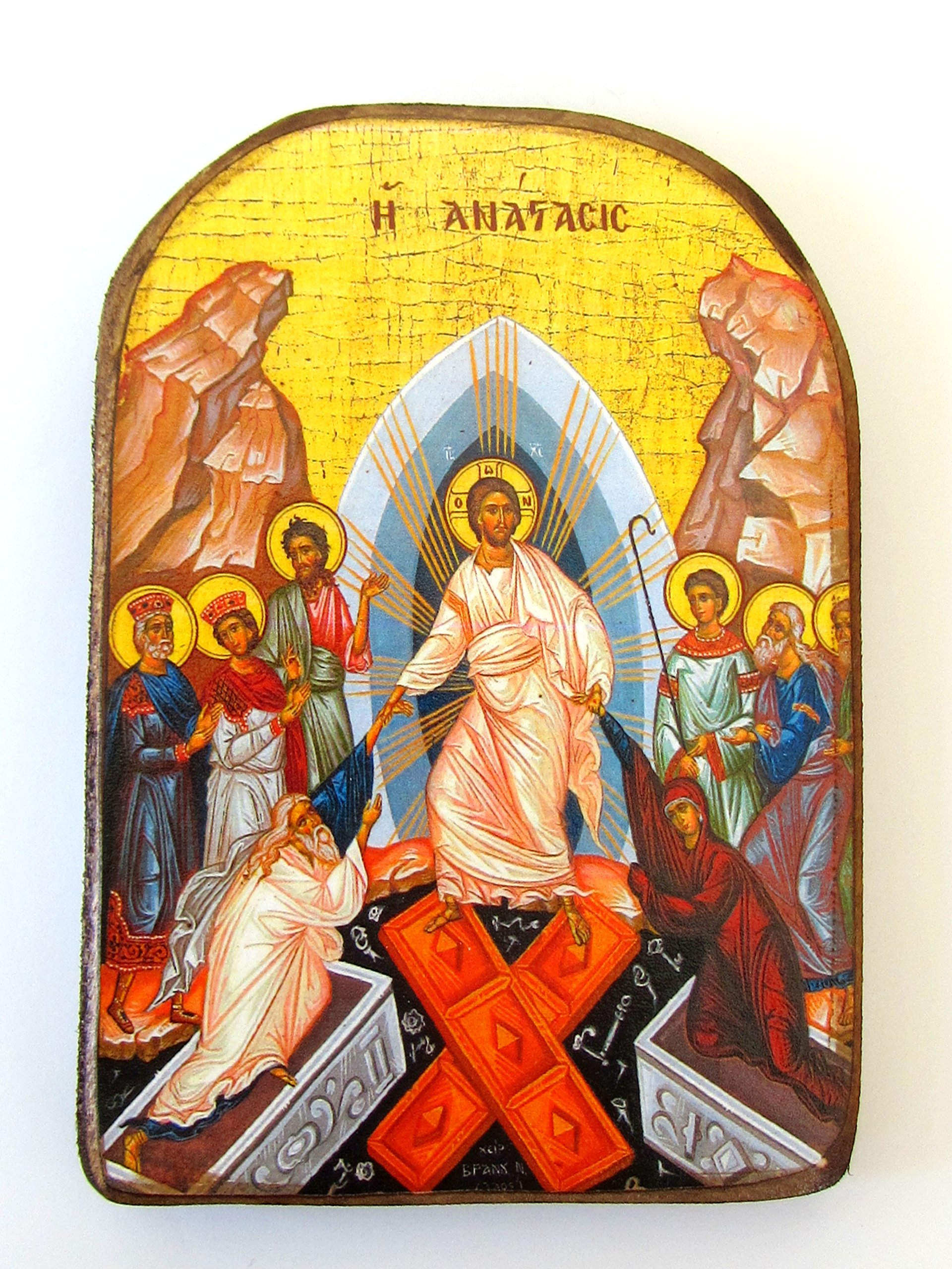 Wooden Greek Christian Orthodox Wood Icon of the Resurrection / MP2