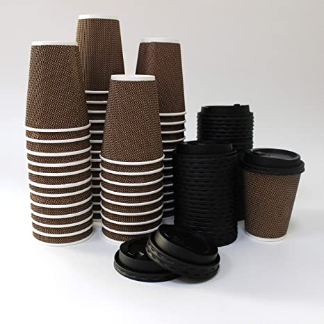 DISPOSABLE COFFEE CUPS – INSULATED CUPS WITH LIDS 12-OZ – 300 SETS NO  SLEEVES LEAK PROOF PREMIUM 100% UNIQUE AND STYLISH DOUBLE WALLED PAPER CUP  –