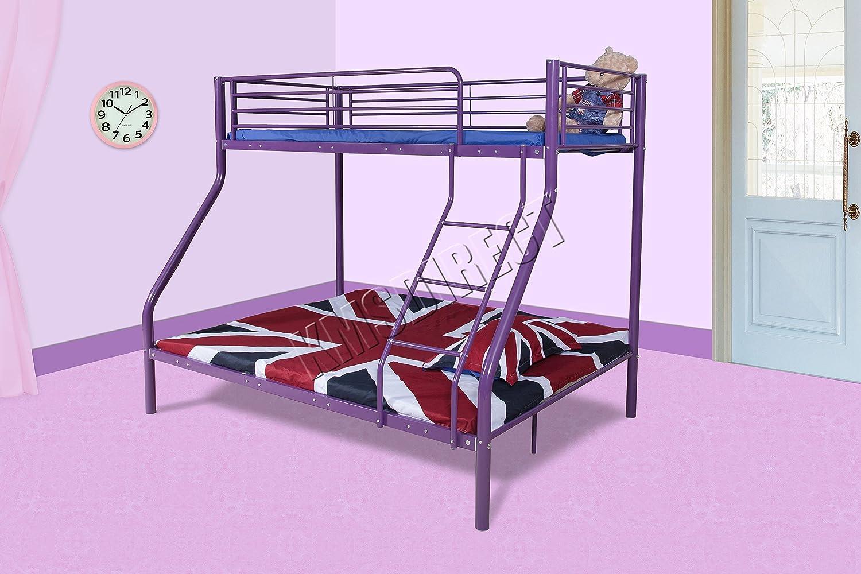 FoxHunter New Purple Metal Triple Children Sleeper Bunk Bed Frame No Mattress Double Base Single On Top Amazoncouk Kitchen Home