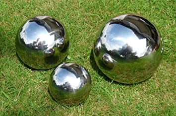 Set Of 3 Silver Balls Decorative Spheres Stainless Steel Ball Rose Ball  Swimming Ball Pool Sphere