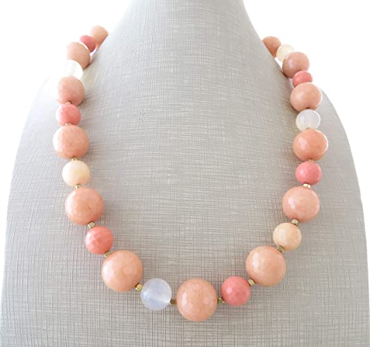 91393e08001 Collier avec jade rose et agate