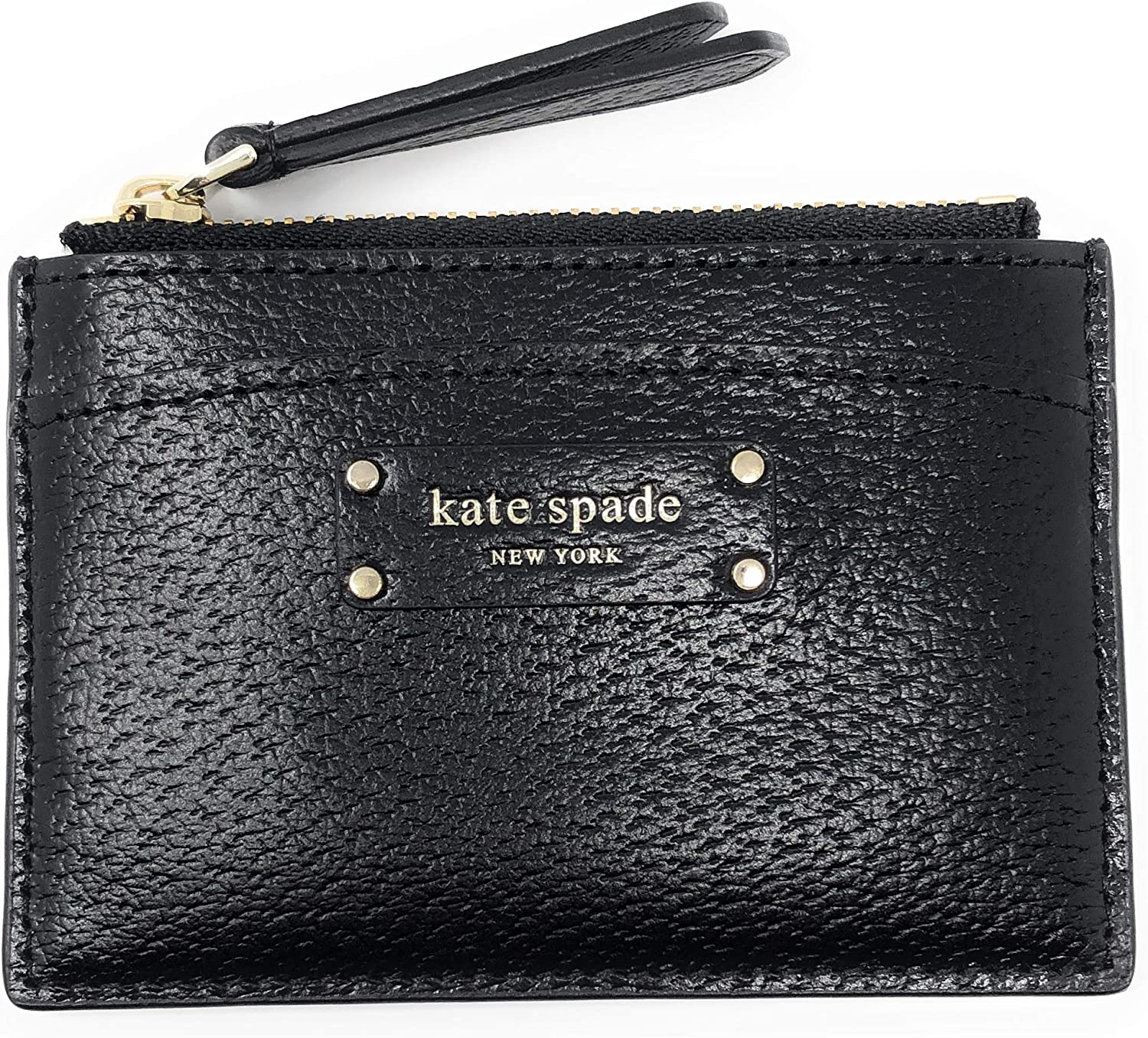 Kate Spade New York Jeanne Small Pebbled Leather Card Wallet Coin Purse (Black)