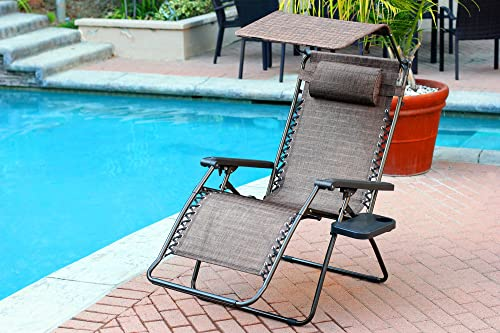 Set of 2 Oversized Zero Gravity Chair with Sunshade and Drink Tray – Brown Mesh