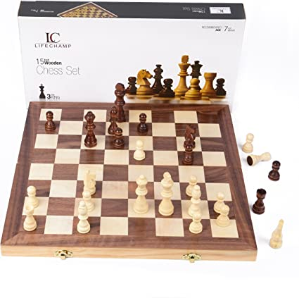Amazon Com Chess Sets For Adults And Kids With 15 Inch Large Folding Wooden Game Board And Storage For The Handcrafted Wood Chess Pieces Toys Games