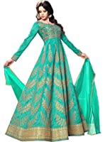 Ethnic Yard Women's Silk Embroidered Semi-stitched Anarkali Suit EY-F1116_Turquoise_Free Size