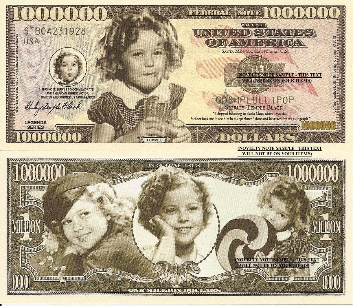 Novelty Dollar Shirley Temple Black Commemorative Million Dollar Bills x 2 American Singer Actor