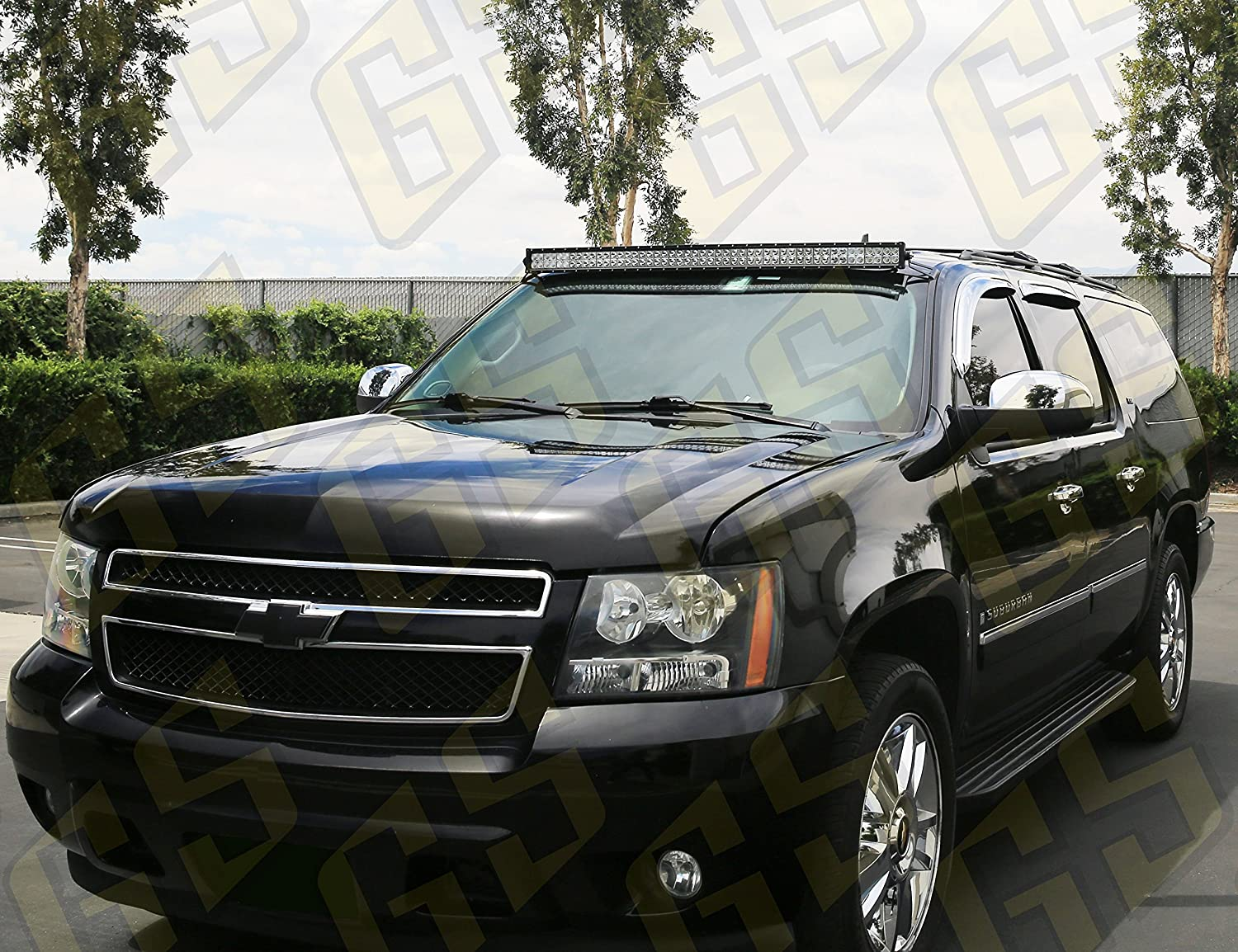 for 2007-2013 GM Pickup /& SUV Compatible with Chevrolet Chevy Avalanche Silverado Suburban Tahoe /& GMC Sierra Yukon GS Power Curved LED Light Bar Roof Mount Brackets choice of 50 | 52 | 54 inch