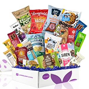 Healthy Vegan Snacks Care Package: Mix of Vegan Cookies, Protein Bars, Chips, Vegan Jerky, Fruit & Nut Snacks, Great Vegan Gift Basket Alternative
