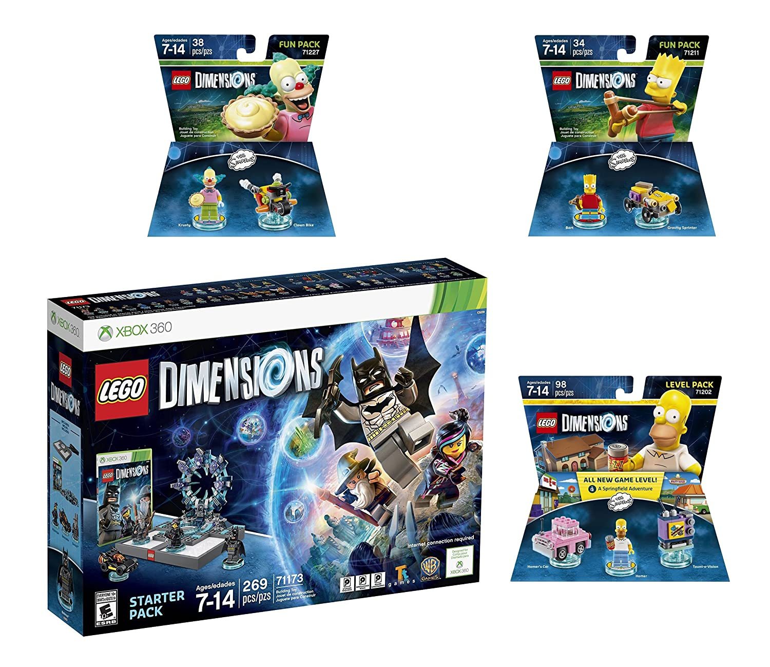 Amazon Com Lego Dimensions Starter Pack The Simpsons Homer Level Pack Bart Simpson Krusty Fun Packs For Xbox 360 Console Video Games