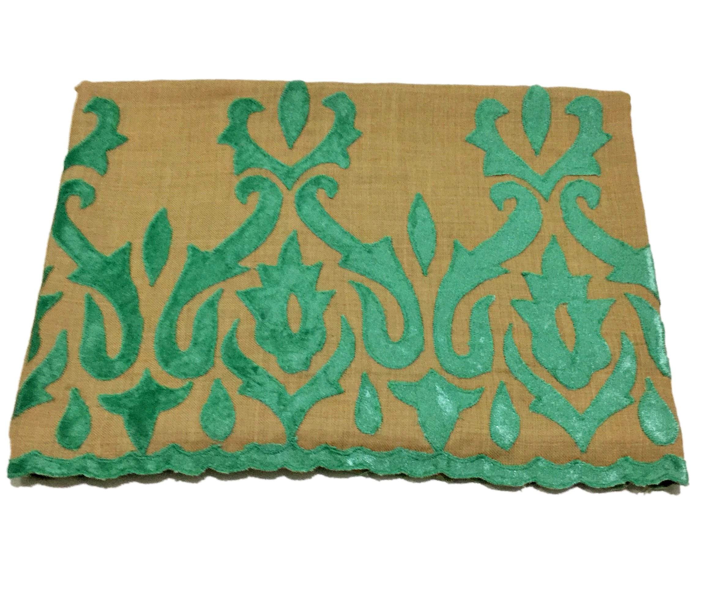 Pashmina Stole, Brown with Teal Velvet by Tarsun Group