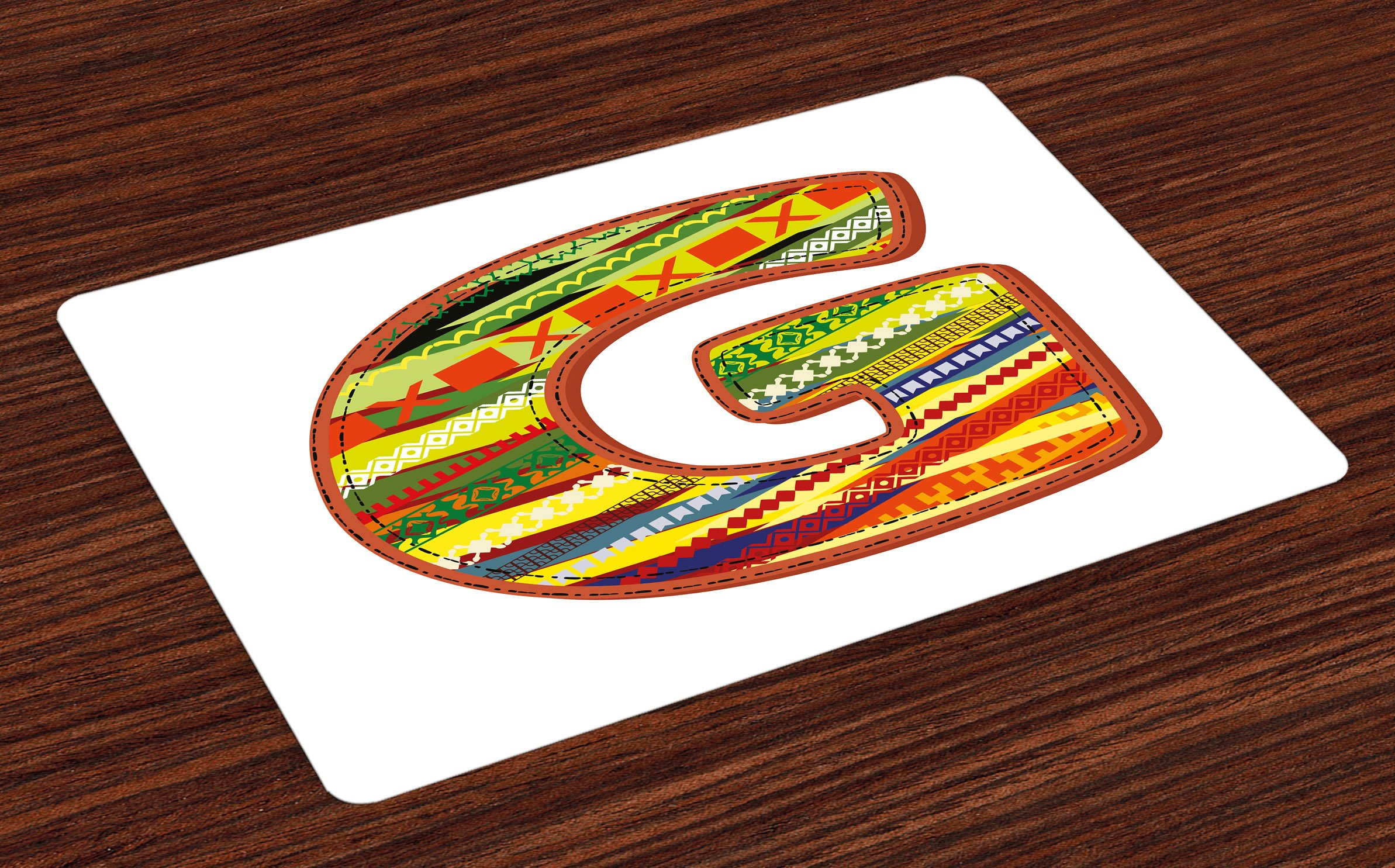 Ambesonne Letter G Place Mats Set of 4, G Letter Character Language System Learning College Surname Red Calligraphy Design, Washable Fabric Placemats for Dining Room Kitchen Table Decor, Multicolor
