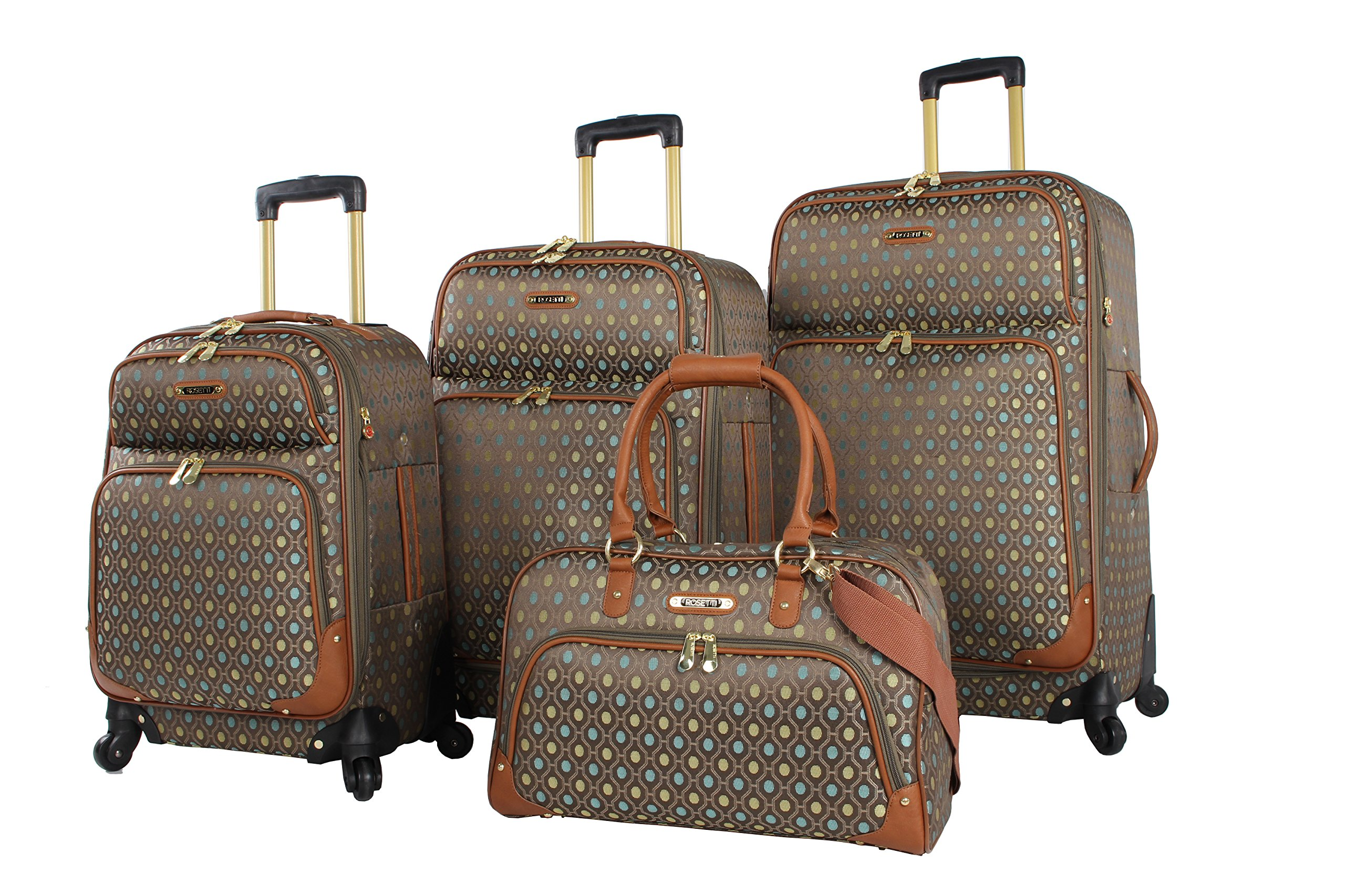 Rosetti Lighten Up Luggage Set 4 Piece Expandable Softside Suitcase With Spinner Wheels (Lighten Up Aqua) by Rosetti